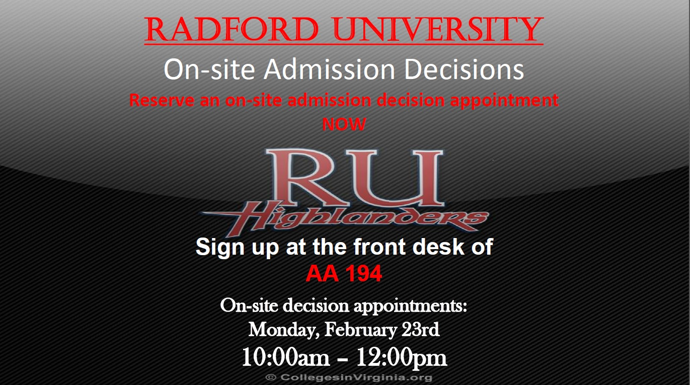 radford admission essay Sign-up to receive information about radford university we are excited that you want to learn more about what radford university has to offer.