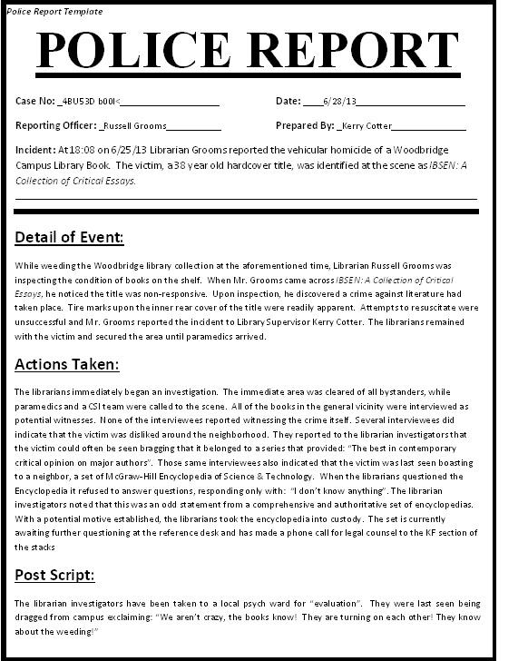 sample police report essay